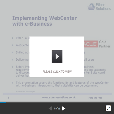 Implementing Oracle WebCenter With e-Business