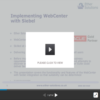 Implementing Oracle WebCenter With Siebel